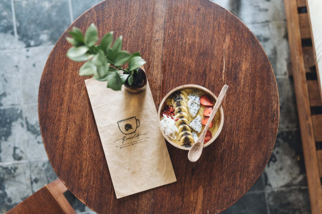 Smoothie bowl from coffee shop in hoi an