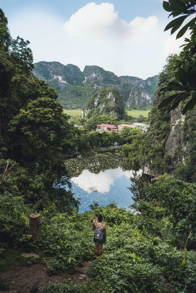 view from bich dong pagoda in tam coc vietnam