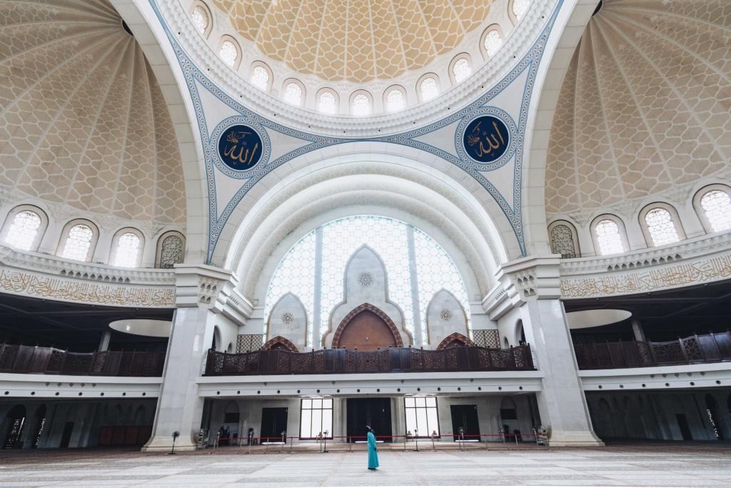 inside the masjid wilayah in kuala lumpur