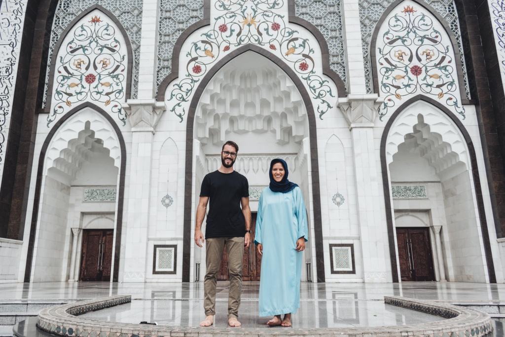 Picture in front of the masjid wilayah in kuala lumpur malaysia
