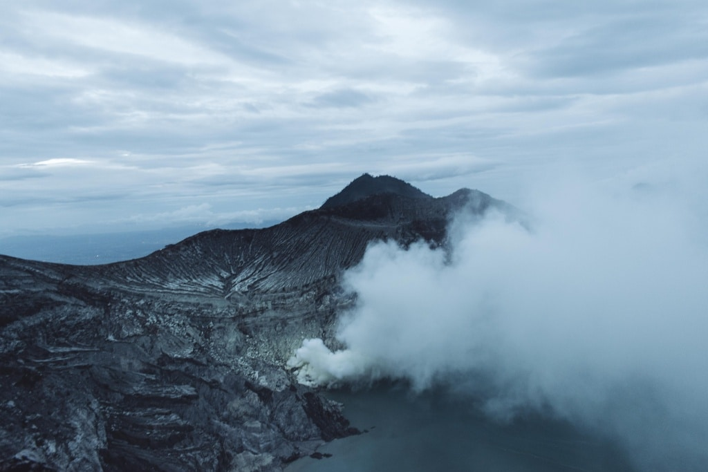 grey morning at the ijen crater on java