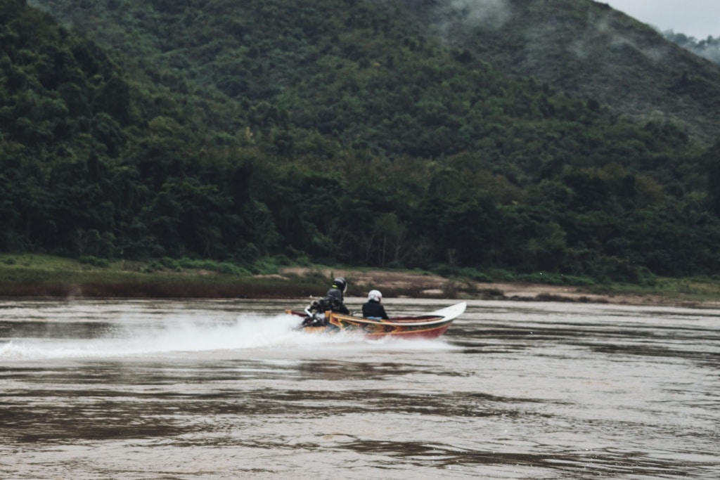 Speed boat on mekong river in Laos