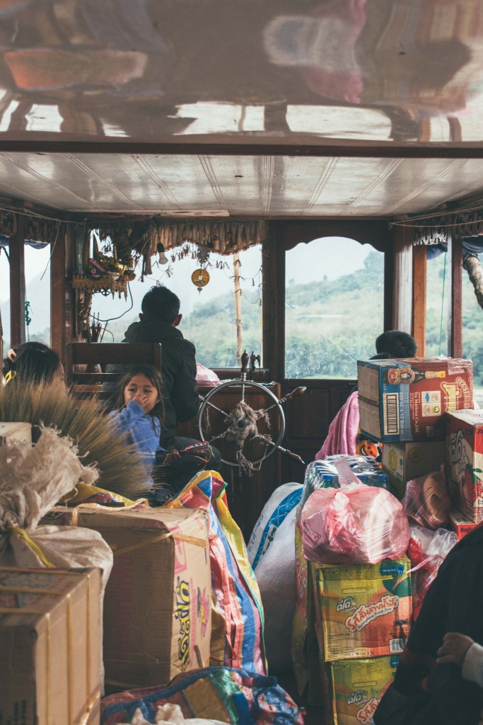 Interior of the slow boat in Laos goign down the Mekong