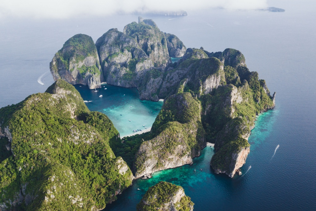 Koh Phi Phi Leh seen from above with Mavic Pro