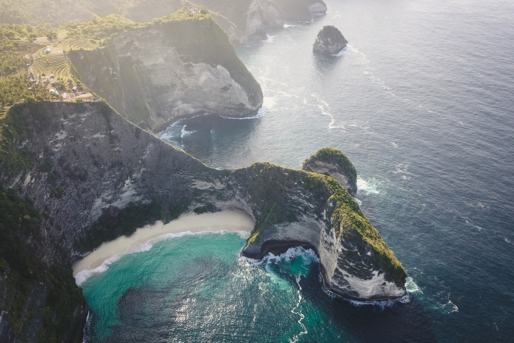 Kelingking beach drone shot in Nusa Penida Indonesia