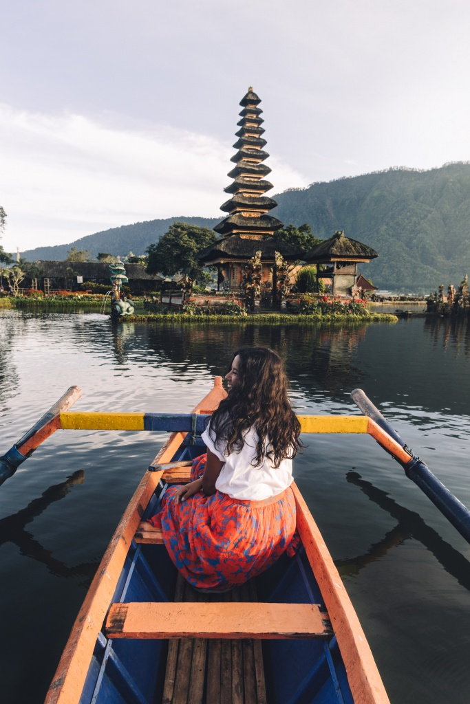 bali water temple at sunrise