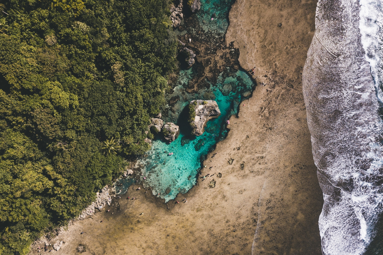 Aerial view of Magpupungko Rock Pools Siargao Philippines
