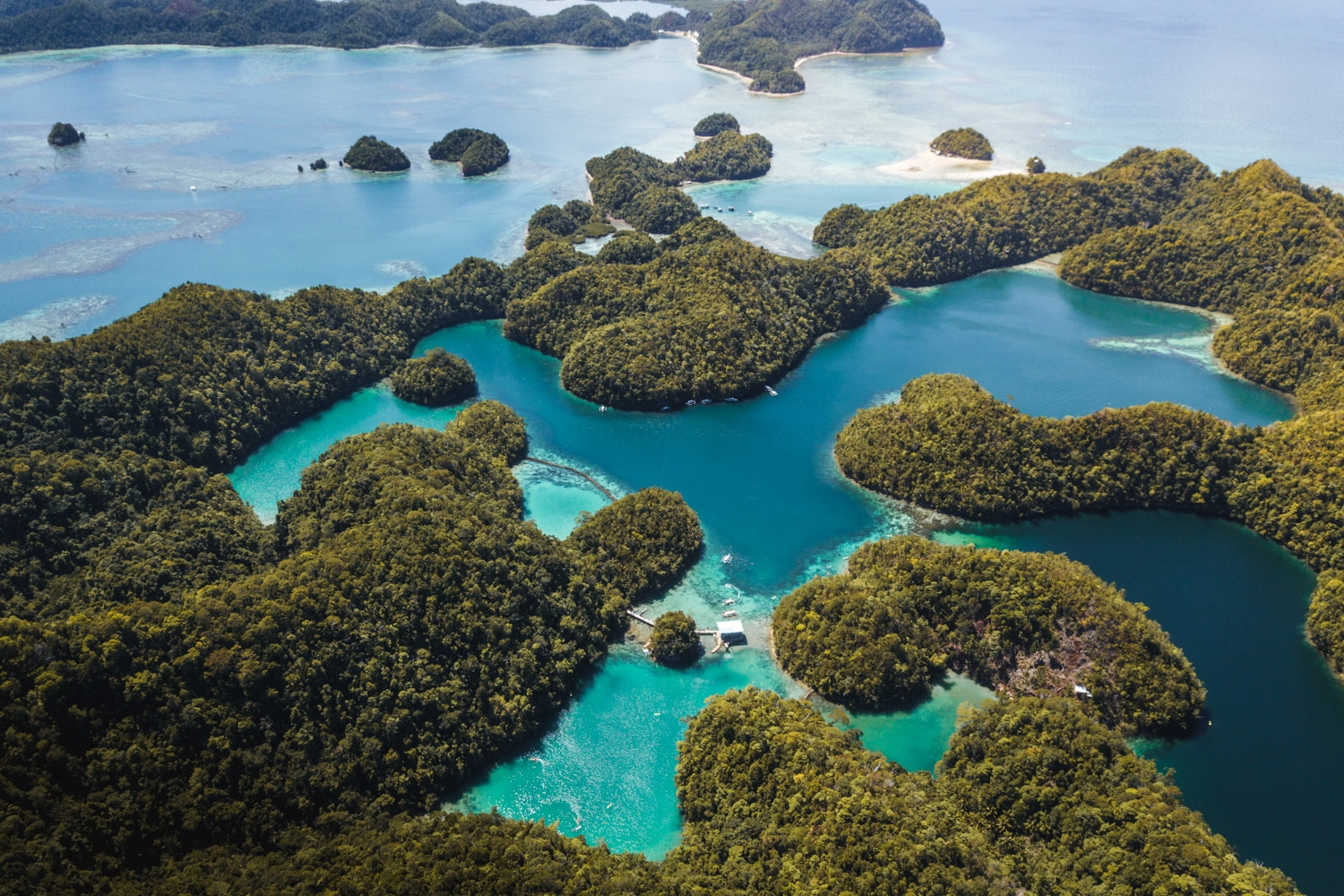 Aerial view of Sugba Lagoon Siargao
