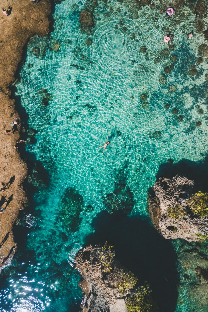 arial view of magpupungko rock pools on siargao island in the philippines