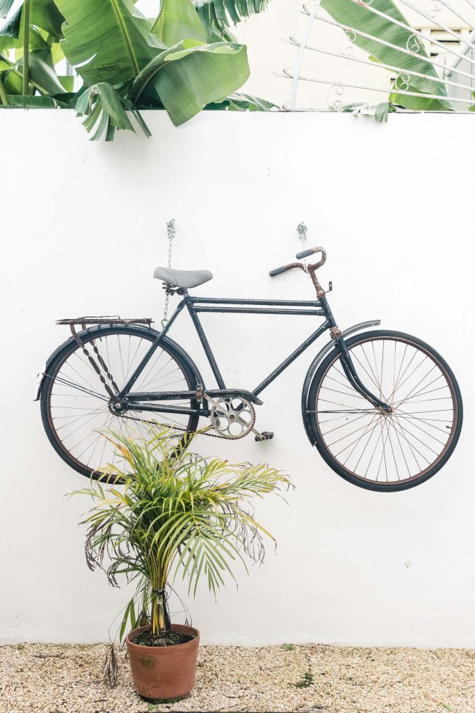 tulum on a budget bicycle at our airbnb rental