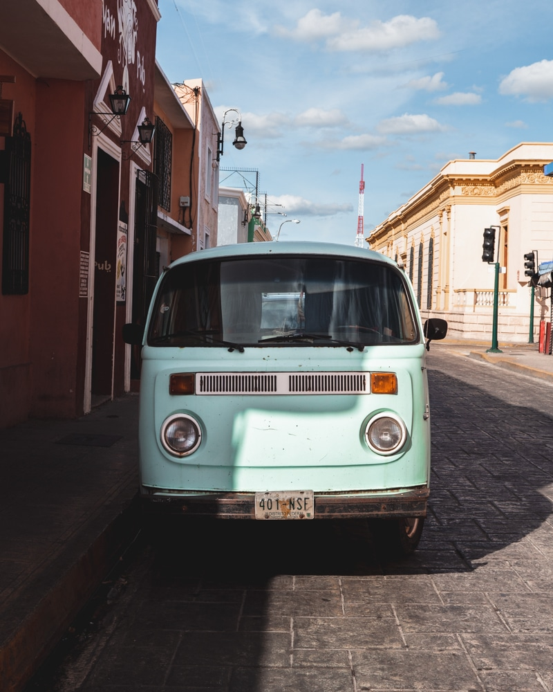 Classic VW vanagon on the streets of Merida