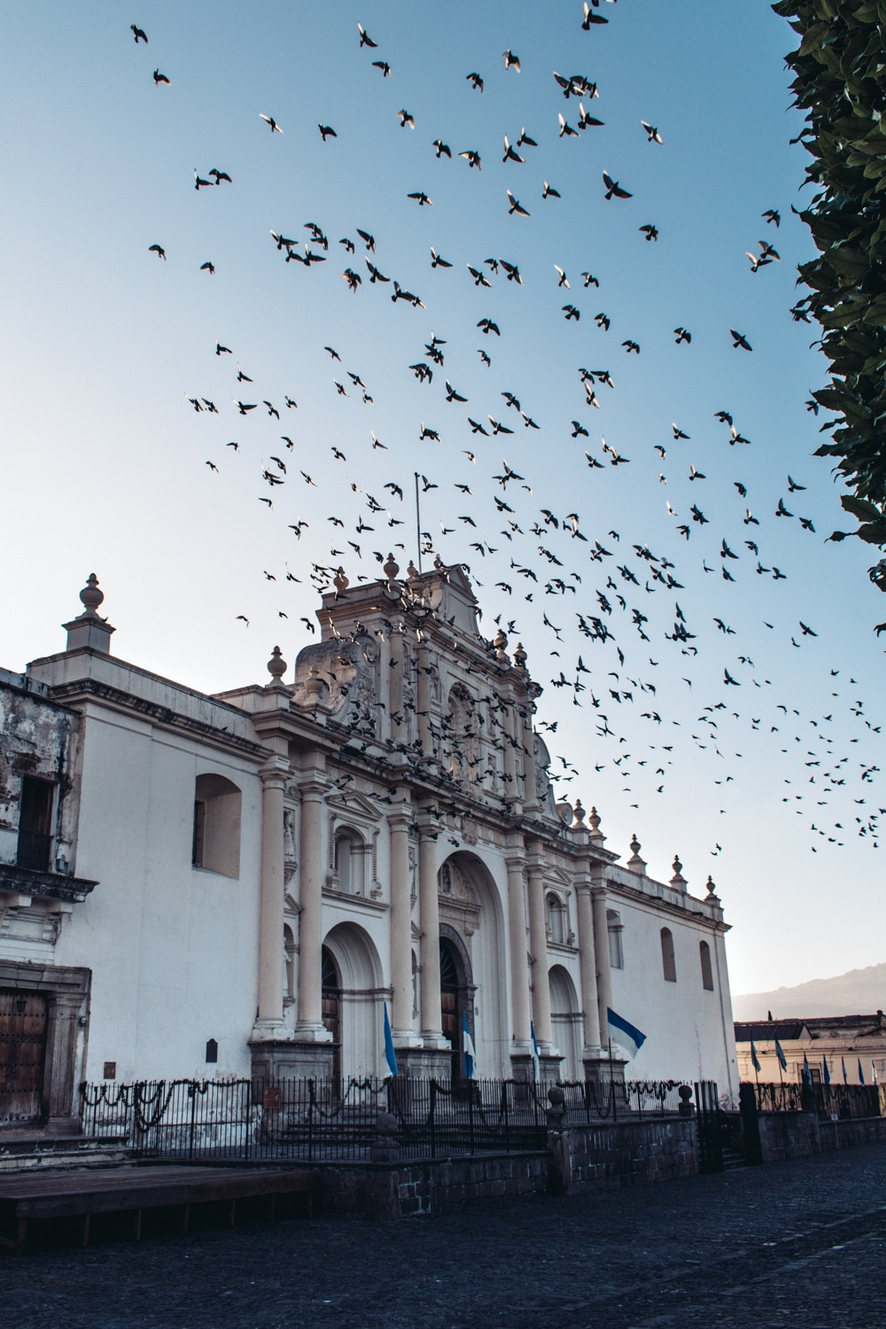 Antigua cathedral at sunrise