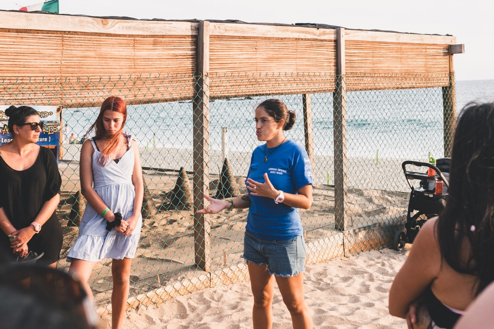 Vive Mar employee speaking on the turtle release in puerto escondido mexico