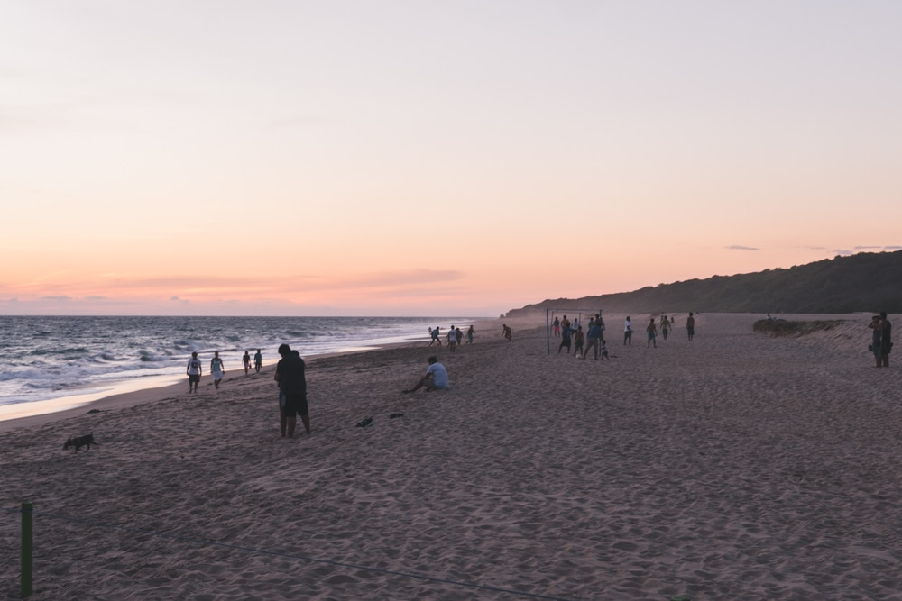 beach sunset after the sea turtle release at playa bacocho in Puerto Escondido Mexico