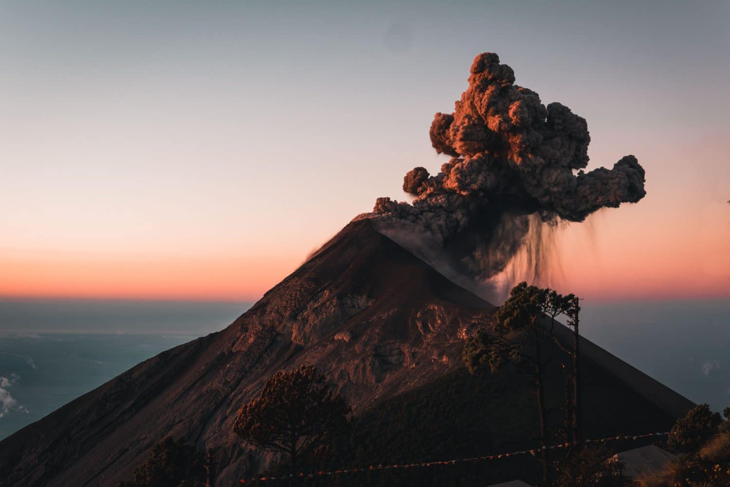 Volcan Fuego Erupting at Sunrise
