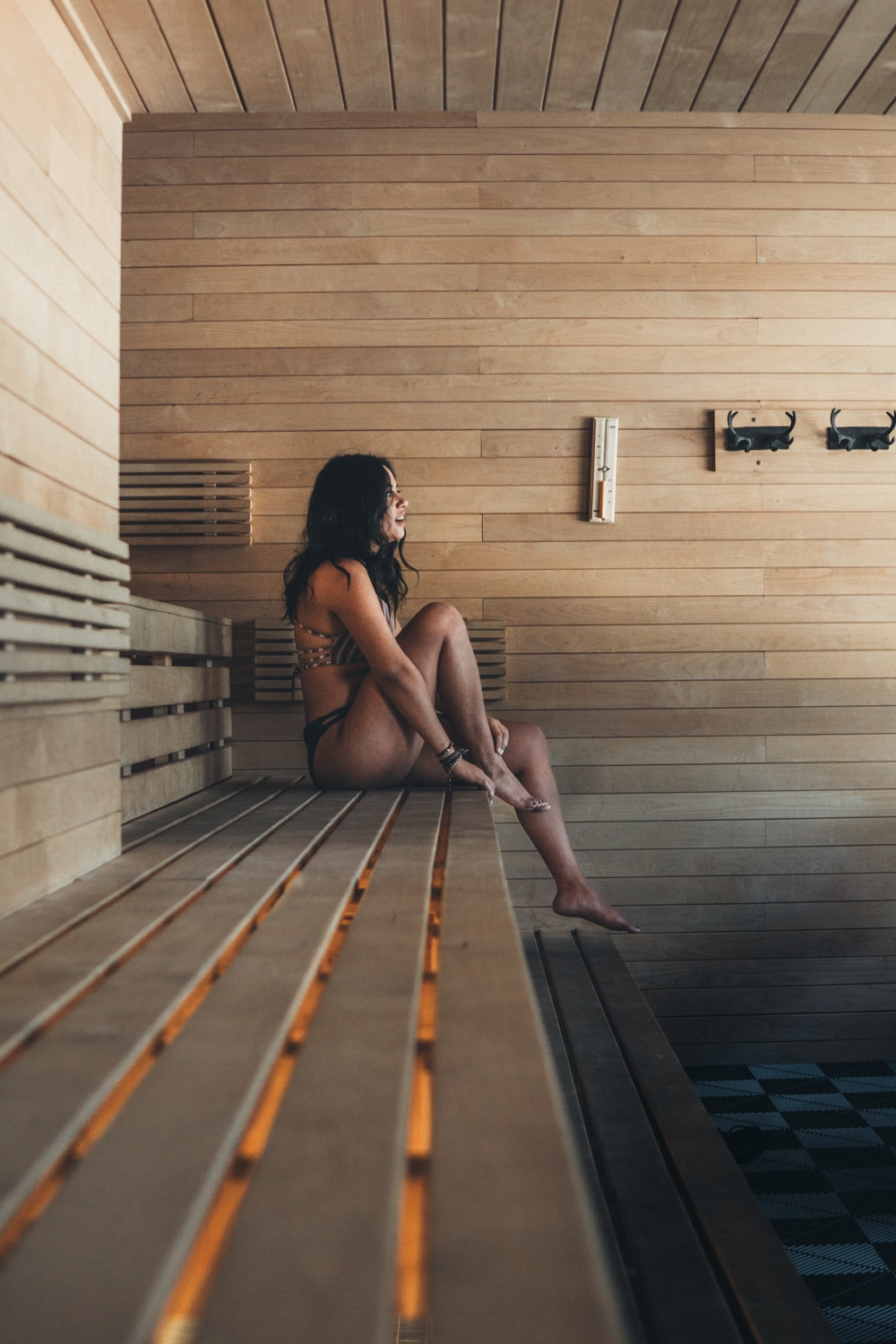 sauna at scandinave spa tremblant quebec