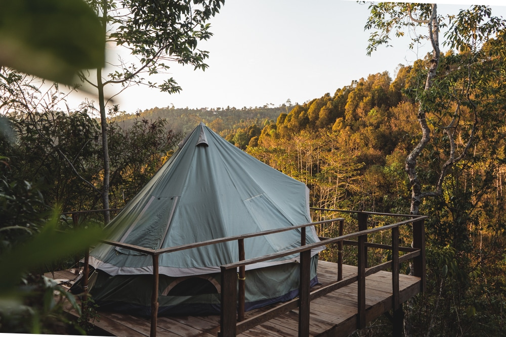 Glamping tent at ekommunity yoga bali in munduk