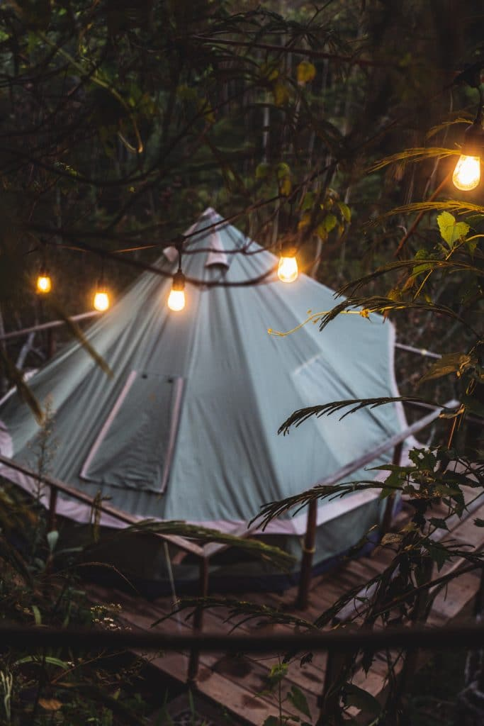 tent at ekommunity glamping in munduk, bali, indonesia