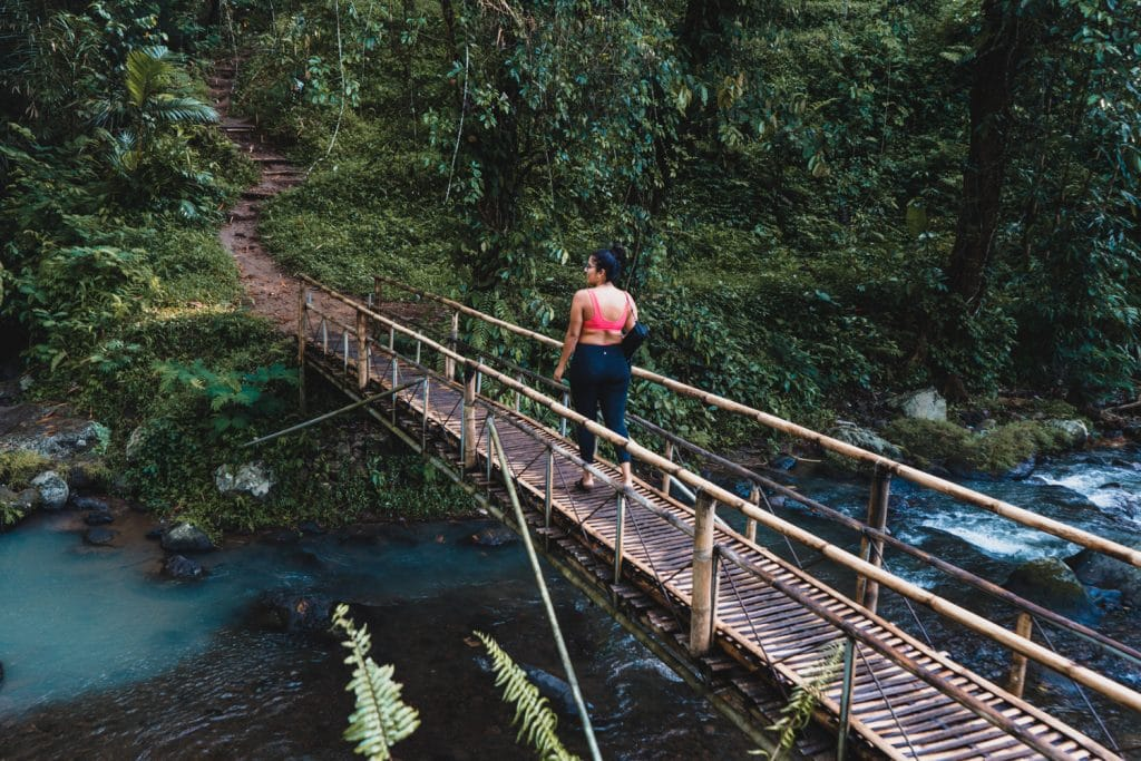 The bamboo bridge leading to leke leke waterfall in bali