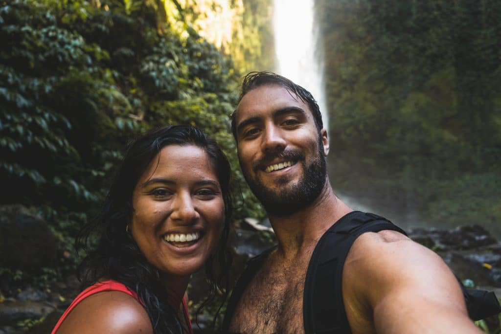 nungnung waterfall selfie in bali