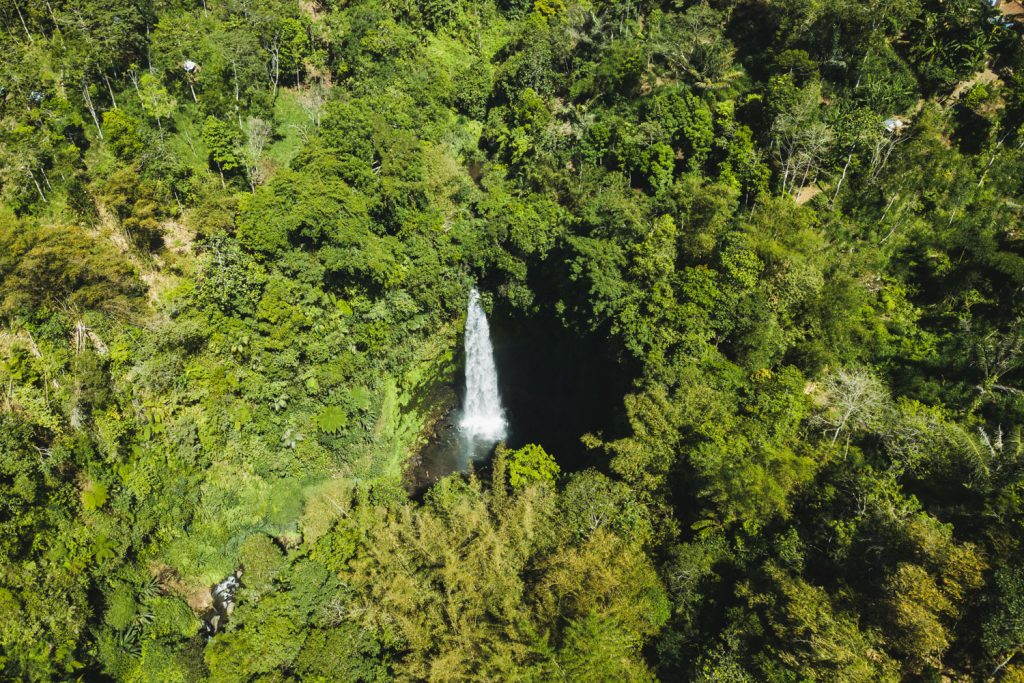 drone photo of nungnung waterfall in bali
